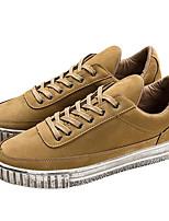 Da uomo Sneakers Comoda Pelle di maiale Primavera Casual Comoda Grigio Marrone Piatto
