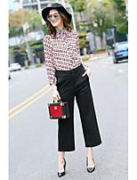 MMLJ Women's Going out Casual/Daily Cute Spring Summer ShirtPrint Shirt Collar Long Sleeve Silk Medium