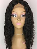 Верхняя часть кружева передние человеческие волосы парики вьющиеся для женщины 150% плотность бразильские виргинские волосы без клейких