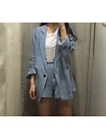 Women's Going out Party Sexy Cute Spring Fall Blazer,Color Block V Neck Long Sleeve Regular Cotton