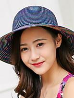Для женщин На каждый день Соломенная шляпа,Лето Соломка Однотонный Цветочный