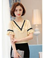 Для женщин На каждый день Осень Как у футболки Юбки Костюмы V-образный вырез,просто Однотонный С короткими рукавами