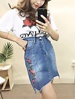 Women's Casual/Daily Active Summer T-shirt Skirt Suits,Solid Round Neck Short Sleeve