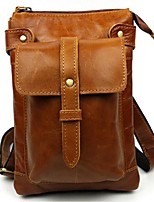 Men Shoulder Bag Cowhide All Seasons Casual Barrel Zipper Brown Coffee Black