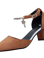 Women's Heels Cashmere Summer Walking Split Joint Chunky Heel Black Brown Ruby Almond 2in-2 3/4in