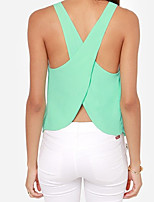 Women's Casual/Daily Beach Holiday Sexy Simple Tank Top,Solid Round Neck Sleeveless Polyester