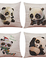 Set of 4 Cute Hand Painted Panda Pattern  Linen Pillowcase Sofa Home Decor Cushion Cover
