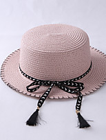 Women Beach Summer Casual Sun Tassel Bow Flat Hat Sunscreen Straw Cap