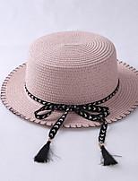Femme Décontracté Paillette Chapeau de Paille,Solide Eté Couleur unie Noeud