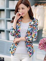 Women's Going out Casual/Daily Simple Street chic Spring Summer Blazer,Floral Peaked Lapel ¾ Sleeve Regular Rayon
