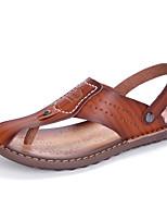 Men's Slippers & Flip-Flops Comfort Light Soles Leatherette Spring Summer Casual Khaki Blue Brown Flat