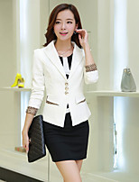 Women's Casual/Daily Simple Spring Blazer,Solid Notch Lapel Long Sleeve Regular Polyester