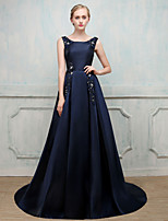 Formal Evening Dress - Open Back Elegant Lace-up Ball Gown Jewel Sweep / Brush Train Stick-Satin Fiber with Beading Imitation Pearl