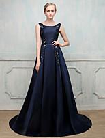 Formeller Abend Kleid - Offener Rücken Ballkleid Schmuck Pinsel Schleppe Stick-Satin mit Perlenstickerei Imitationsperle