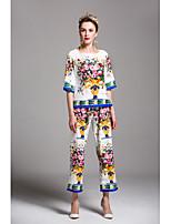 Chemise Pantalon Costumes Femme,Imprimé Sortie Décontracté / Quotidien Mignon Printemps Eté ½ Manches Col Arrondi