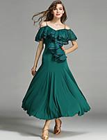 Ballroom Dance Dresses Women's Performance Tulle Viscose Ruched Draped 1Piece/Set Natural Dress