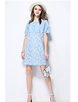 MEIDONGTAI Women's Casual/Daily Sheath DressSolid Round Neck Above Knee Short Sleeve Acrylic Summer High Rise Micro-elastic Medium