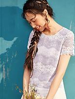 Tee-shirt Femme,Couleur Pleine Fête d'anniversaire Décontracté / Quotidien simple Manches Courtes Col Arrondi Polyester