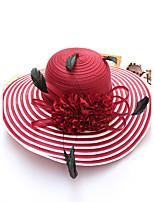 Для женщин Шапки Цветы Панама Соломенная шляпа Шляпа от солнца,Весна/осень Лето Солома В полоску В полоску