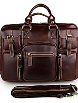 Men Tote Cowhide All Seasons Casual Office & Career Weekend Bag Metallic Zipper Brown Wine Coffee Black