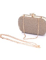 Women Evening Bag Polyester All Seasons Wedding Event/Party Formal Party & Evening Club Minaudiere Rhinestone Clasp Lock Silver Black Gold