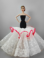 Evening Party Dress in Black & White For Barbie Doll For Girl's Doll Toy