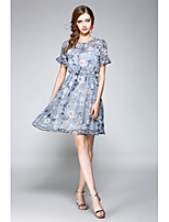 NEDO Women's Going out Casual/Daily Holiday Street chic Sophisticated A Line Chiffon DressFloral Round Neck Above Knee Short Sleeve Polyester