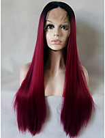 Silky Straight Mint Bug Long Glueless Heat Resistant Fiber Hair Two Tone Pastel Bug Ombre Synthetic Lace Front Wig