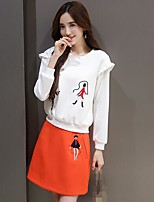 Women's Going out Casual/Daily Sports Vintage Cute Street chic Hoodie Skirt Suits,Print Round Neck Long Sleeve