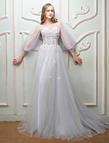 Formal Evening Dress - Open Back Floral Sexy Elegant Lace-up A-line Jewel Court Train Lace Satin Tulle with Beading Lace