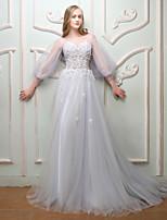 Ensaio de Casamento Evento Formal Vestido - Frente Única Floral Sexy Elegant Cadarço Linha A Decorado com Bijuteria Cauda CorteRenda