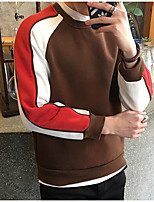 Men's Going out Sweatshirt Color Block Round Neck strenchy Rayon