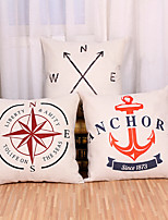 Set Of 3 Mediterranean Style Compass Pillow Cover Square Cotton/Linen Pillow Case Home Decor