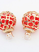 Euramerican  Hollow out Multicolo Adorabler Rhinestone Ball  Earrings Lady Daily Stud Earrings Gift Jewelry