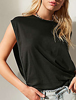 Women's Going out Casual/Daily Sexy Summer T-shirt,Solid Round Neck Sleeveless Polyester Medium