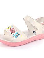 Girls' Flats First Walkers Cowhide Spring Fall Casual Walking Magic Tape Low Heel Blushing Pink Fuchsia White Flat