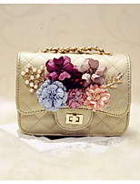 Women Evening Bag PU All Seasons Event/Party Casual Party & Evening Date Club Flap Flower Magnetic Silver Black Gold
