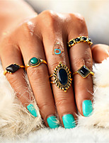 Fashion Vintage 5PCS/Set Gold Color Turkish Flower Knuckle Ring Sets New Design Bohemian Crystal Midi Rings for Women Men Jewelry