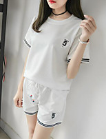 Women's Casual/Daily Sports Simple Active Summer T-shirt Pant Suits,Solid Round Neck Short Sleeve Micro-elastic
