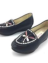 Для женщин Мокасины и Свитер Удобная обувь Ткань Весна Осень Повседневные Для прогулок Удобная обувь Стразы На плоской подошве ЧерныйНа