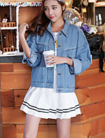 Women's Casual/Daily Vintage Spring Fall Denim Jacket,Solid Shirt Collar Long Sleeve Regular 75%Wool25%linen