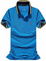 Polo Homme,Couleur Pleine Imprimé Grandes Tailles simple Actif Printemps Eté Manches Courtes Col Italien Coton Moyen Epais