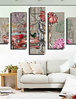 Art Print Retro,Five Panels Horizontal Print Wall Decor For Home Decoration