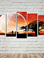 Art Print Landscape Modern,Five Panels Horizontal Print Wall Decor For Home Decoration