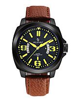 Homens Relógio Esportivo Relógio de Moda Chinês Quartzo Calendário Noctilucente Couro Legitimo Banda Marrom