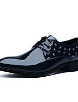 Men's Oxfords Comfort Patent Leather Spring Summer Outdoor Casual Flat Heel Burgundy Dark Blue Black Walking Shoes