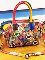 Women Shoulder Bag Cowhide All Seasons Shell Flower Zipper Black/White Rainbow