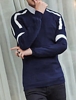Men's Casual/Daily Regular Pullover,Solid Round Neck Long Sleeve Cotton Spring Summer Thin Micro-elastic