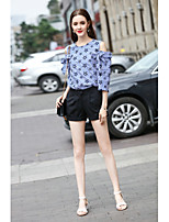 Mujer Adorable Casual/Diario Trabajo Primavera Verano Camisas Pantalón Trajes,Escote Redondo A Rayas Manga Corta