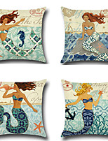 Set Of 4 Mermaid Printing Pillow Cover Bohemia Style Pillow Case 45*45Cm Sofa Cushion Cover